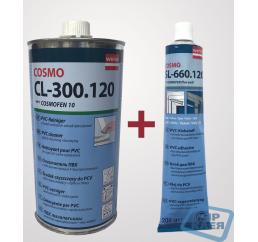 (Ремкомплект ПВХ) Очиститель для ПВХ Cosmofen 10 (1л.) + Клей жидкий пластик Cosmofen Plus Weib 200г.
