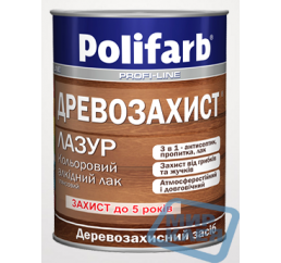 (Тик) Алкидный цветной лак 2,2 кг Древозахист Лазурь Полифарб
